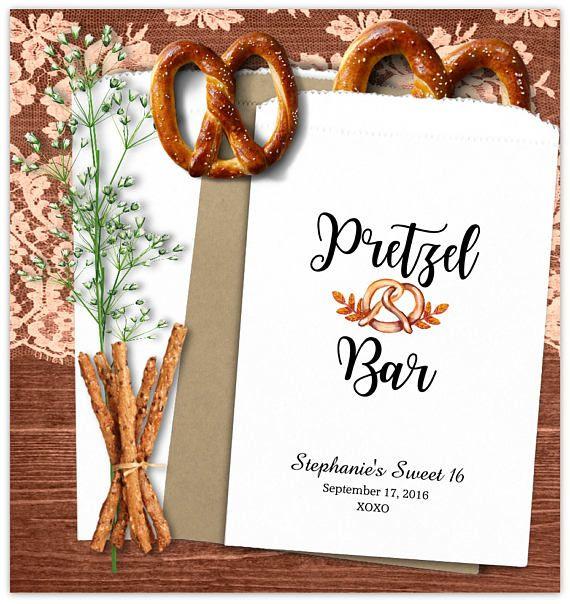 Custom Pretzel Bags 24 BAGS   Wedding Pretzel Bags - wedding favors - pretzel bar ideas - wedding reception ideas - country - rustic