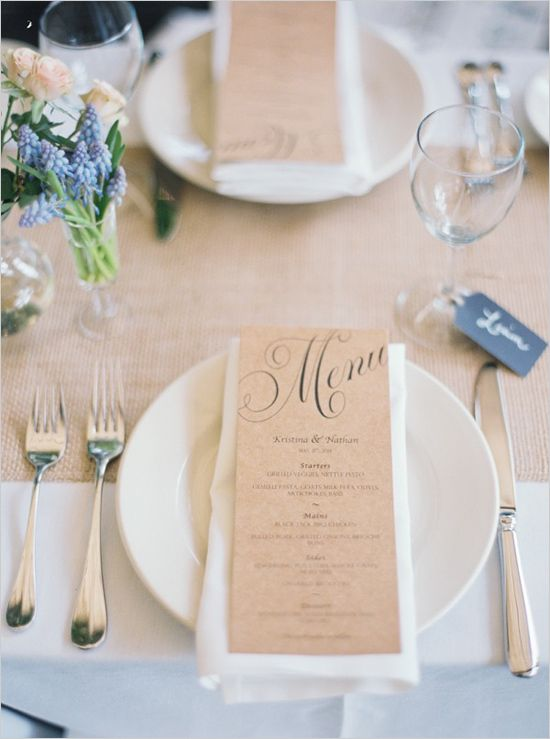 Brown paper menu @weddingchicks