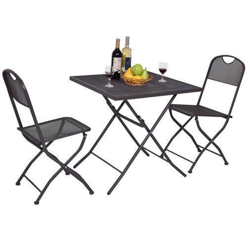 Garden Bistro Set Patio Table & Chairs Balcony Furniture 3Pc Folding Metal Set  #SmartDealsMarket
