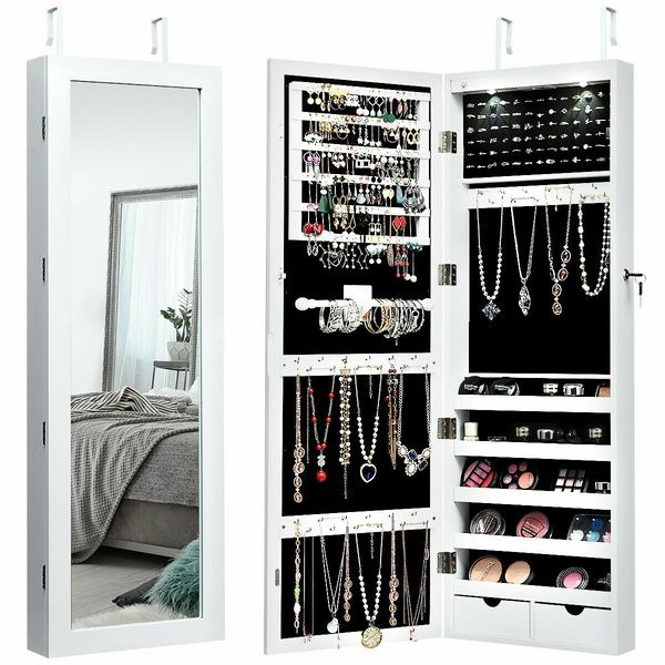 Lockable Wall Mount Mirrored Jewelry Cabinet Organizer Armoire W Led Lights New Wish In 2020 Mirror Jewellery Cabinet Jewelry Mirror Jewelry Cabinet