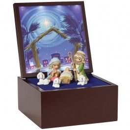 """""""Heirloom Nativity Set Deluxe Music Box"""", LED Stars"""
