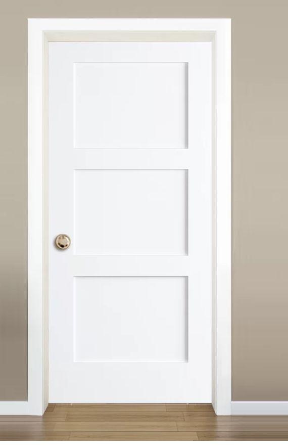 Paneled Solid Manufactured Wood Primed Shaker Standard Door Farmhouse Interior Doors Doors Interior White Interior Doors