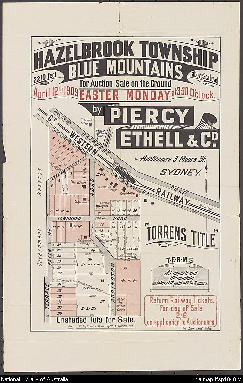 Piercy Ethell & Co. Hazelbrook township, Blue Mountains [cartographic material] : 2210 feet above sea level for auction sale on the ground April 12th 1909 Easter Monday at 3.30 o'clock