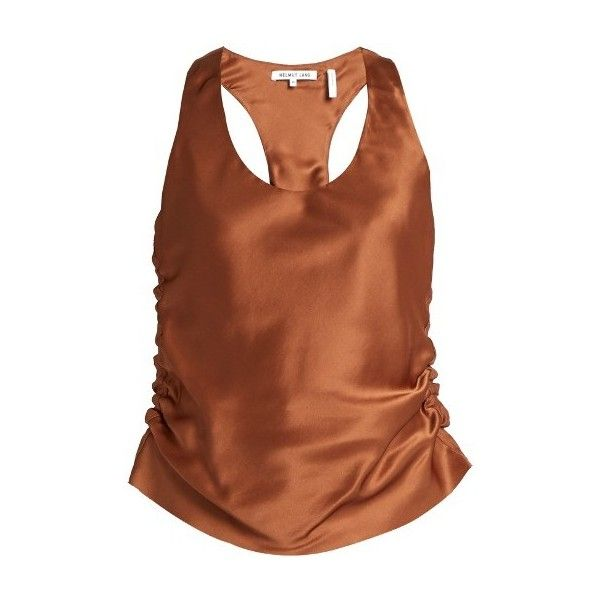 Helmut Lang Ruched silk-satin cami top ($320) ❤ liked on Polyvore featuring tops, tan, brown cami, cami tank, ruched tank, tan top and cami top
