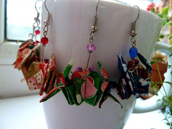Origami Crab earrings dangle animal earrings Washi by MarysaArt