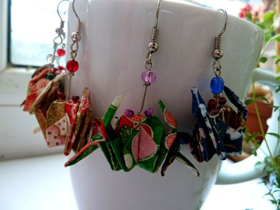Origami Crab earrings dangle animal earrings Washi by MarysaArt