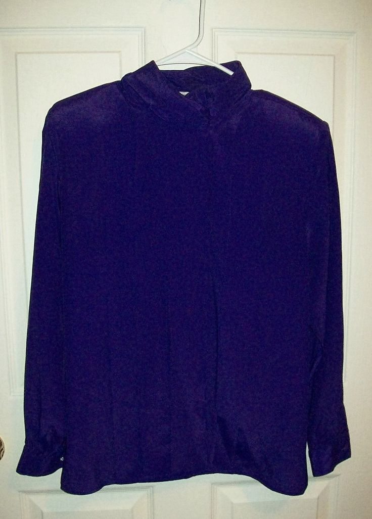 Vintage Ladies Purple Satin Blouse by Alyssa Carr Size 10 Only 6 USD by SusOriginals on Etsy