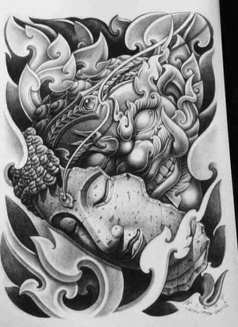 Buddha and demon asian illustration art
