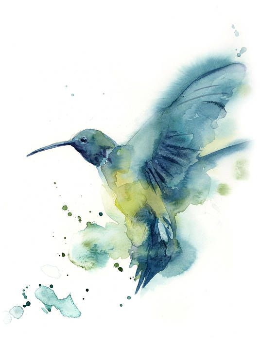 Fliegenden Kolibri Original Aquarell Vogel Malerei Blau