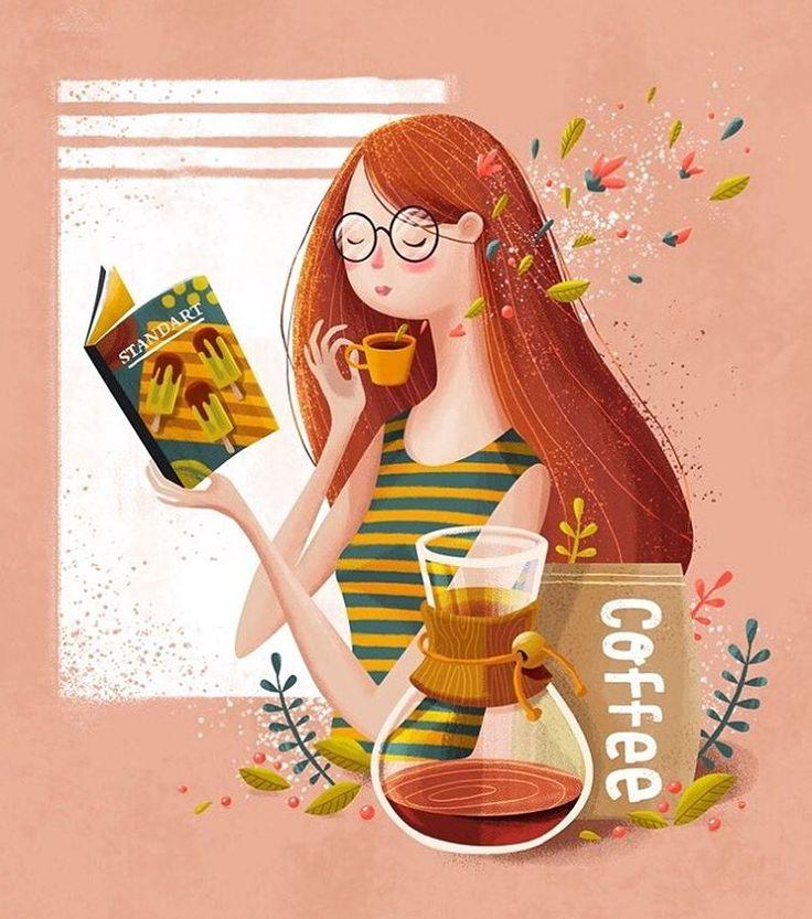 """Mi piace"": 982, commenti: 21 - Adrian Macho (@seasidespirit) su Instagram: ""good morning ☕️🍃🍒 #seasidespirit #illustration #illustrationartist #illustrationart #coffee…"""