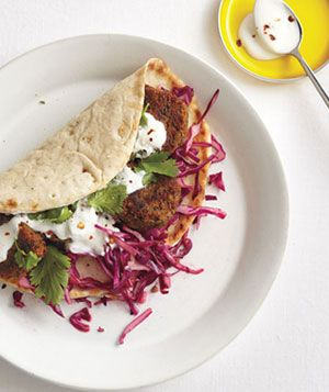 lentil fritter pitas with red cabbage slaw: Fritters Pita, Dinners, Recipes, Lentils Fritters, Cabbages Slaw, Health Tips, Red Cabbages, Greek Yogurt, Real Simple