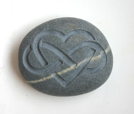 Infinity Heart Engraved Stone Oathing Stone by MonkeysJewels