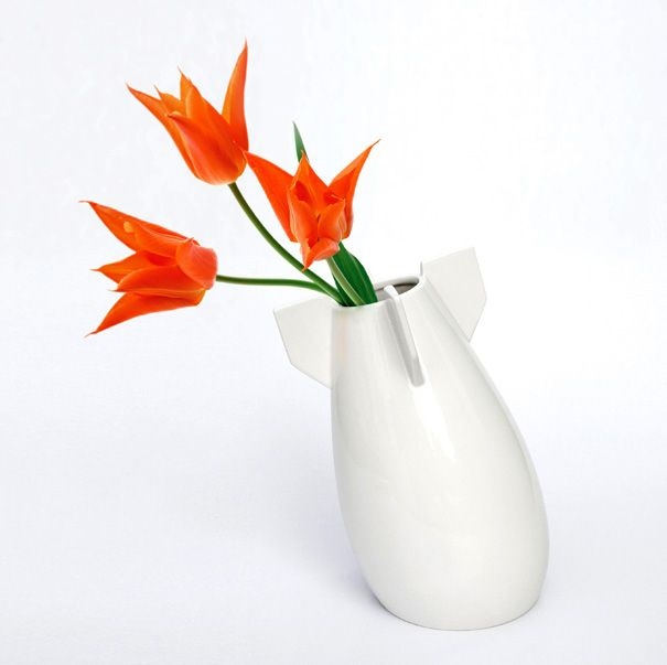 Delightful Blast Off With This Rocket Inspired Vase Of Orange Tulips! Design