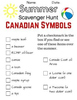 HOPING TO GET 150 DOWNLOADS TO CELEBRATE CANADA 150! Please leave review! This printable scavenger hunt is a fun way for students to explore and observe Canada during the country's 150th birthday. Younger students may not know some of the words listed so it can be a prompt for