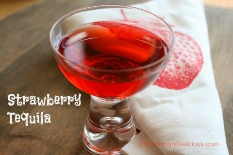 Strawberry Tequila on Shockingly Delicious. A perfect use for fresh California #Strawberries is this easy #cocktail #recipe!