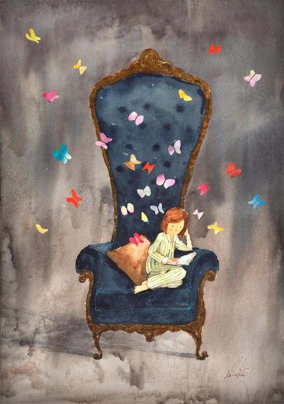 book lover gift reading art unique reading art print nursery decor book art print book art. By children's book illustrator Lee White – Fairy images