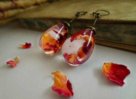 Rose petals earrings vintage resin pressed flowers unique