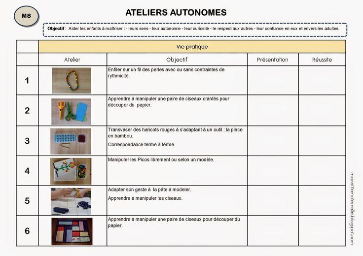 Livret élève pour les ateliers autonomes de type Montessori en MS