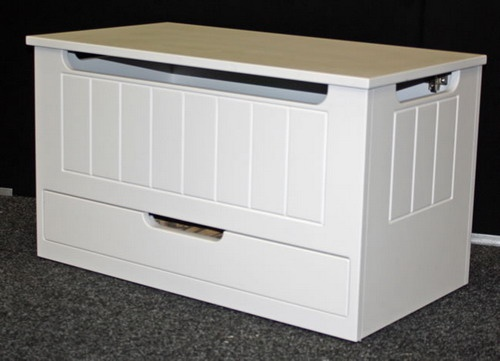 White Kids toy box with drawer design