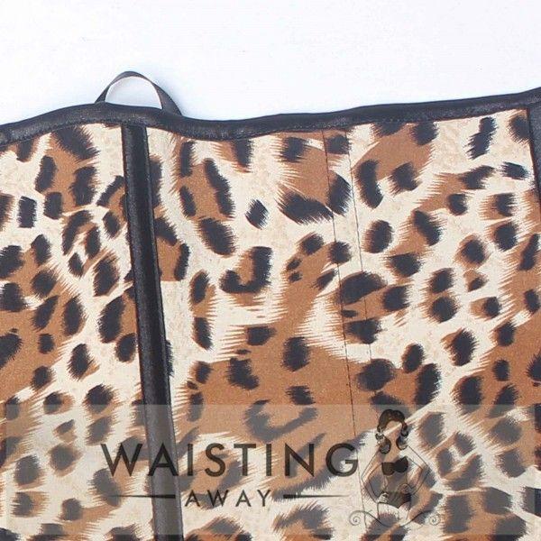 Yellow 4 Steel Bone Cheetah Latex Waist Trainer Corset Corset