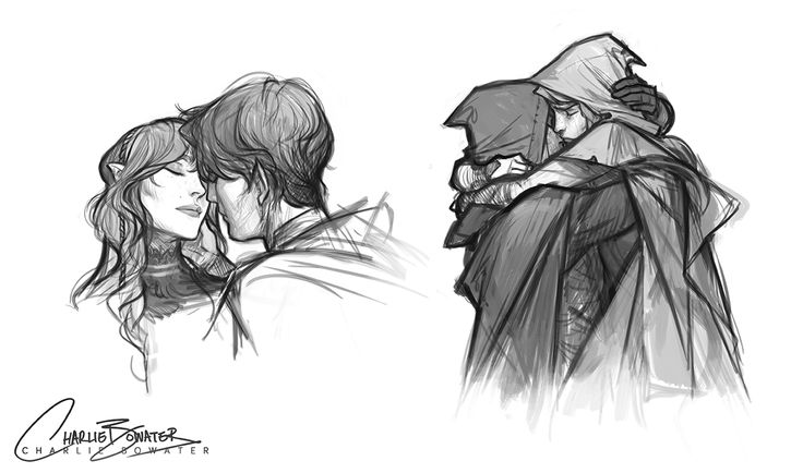 Might have doodled some cuddling. MIGHT HAVE DOODLED A CERTAIN ALLEY REUNION SCENE TOO. MAYBE. (one of my favourite scenes ever, I MISSED HIM TOO, GURL.) The left sketch isn't anyone in particuar but I had a comment saying it's Mor - not intentional...