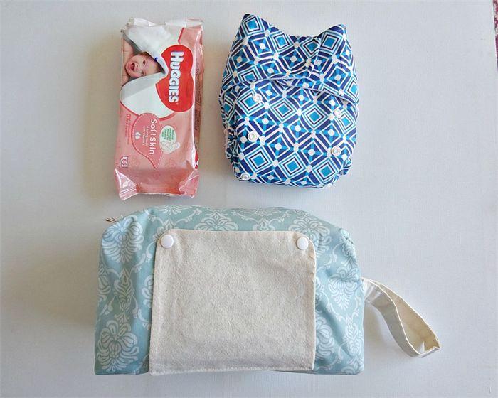Demask pattern modern cloth nappy bag. nappy wallet.