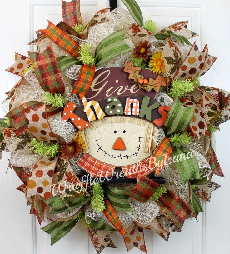 Fall Scarecrow Wreath, Fall Wreath, Deco Mesh Wreath, Scarecrow Wreath, Halloween Wreath, Thanksgiving Wreath by WruffleWreathsbyLana on Etsy