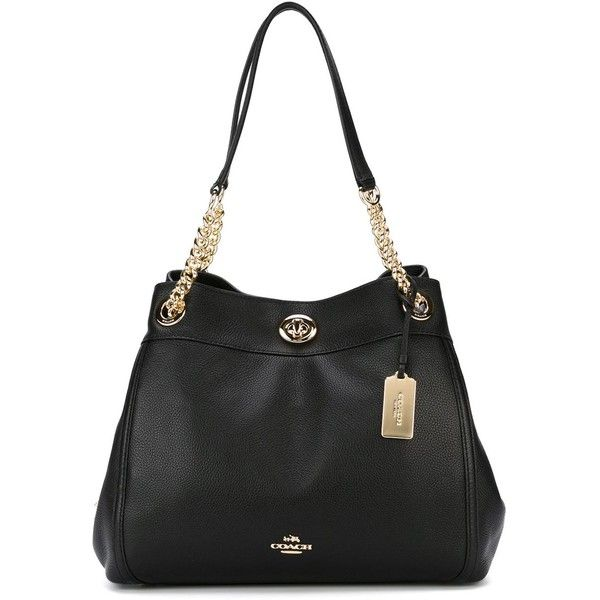 Coach chain shoulder bag ($471) ❤ liked on Polyvore featuring bags, handbags, shoulder bags, black, real leather purses, coach purses, chain strap handbag, genuine leather handbags and leather handbags
