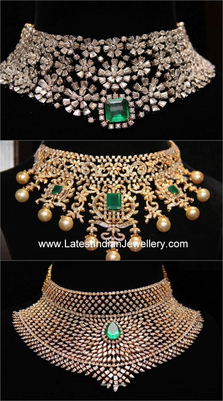 royal diamonds designs chokers | the latest designs of diamond bridal choker necklaces in heavy design ...