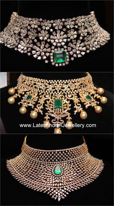 royal diamonds designs chokers | the latest designs of diamond bridal choker necklaces in heavy design ...