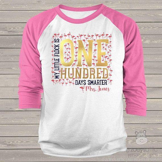 1856b26e3 Teacher shirt - 100 Days Smarter - pink flamingo flock gold foil hundred  day raglan shirt for teachers mscl-053 #affiliate