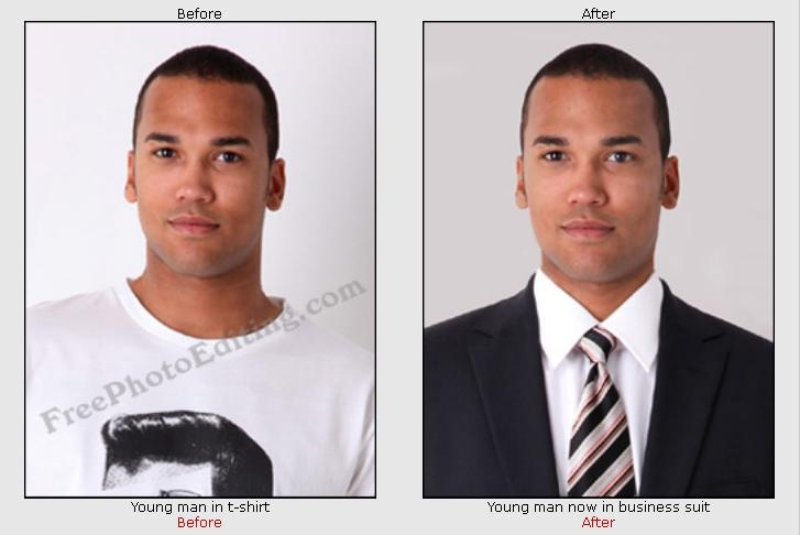 Photo manipulation to change man's clothing. Quick photo editing is free.  http://www.freephotoediting.com/samples/official-photos/006_convert-casual-clothing-to-formal-suit.htm