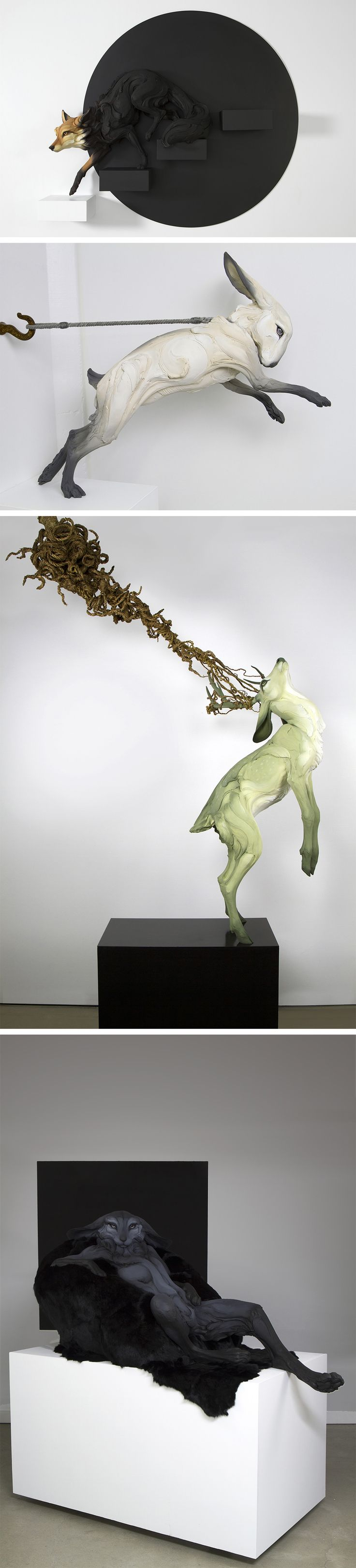 New Stoneware Animals Fraught With Human Emotion by Beth Cavener