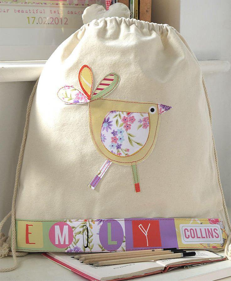 personalised girl's bird nursery bag by constantine jo | notonthehighstreet.com