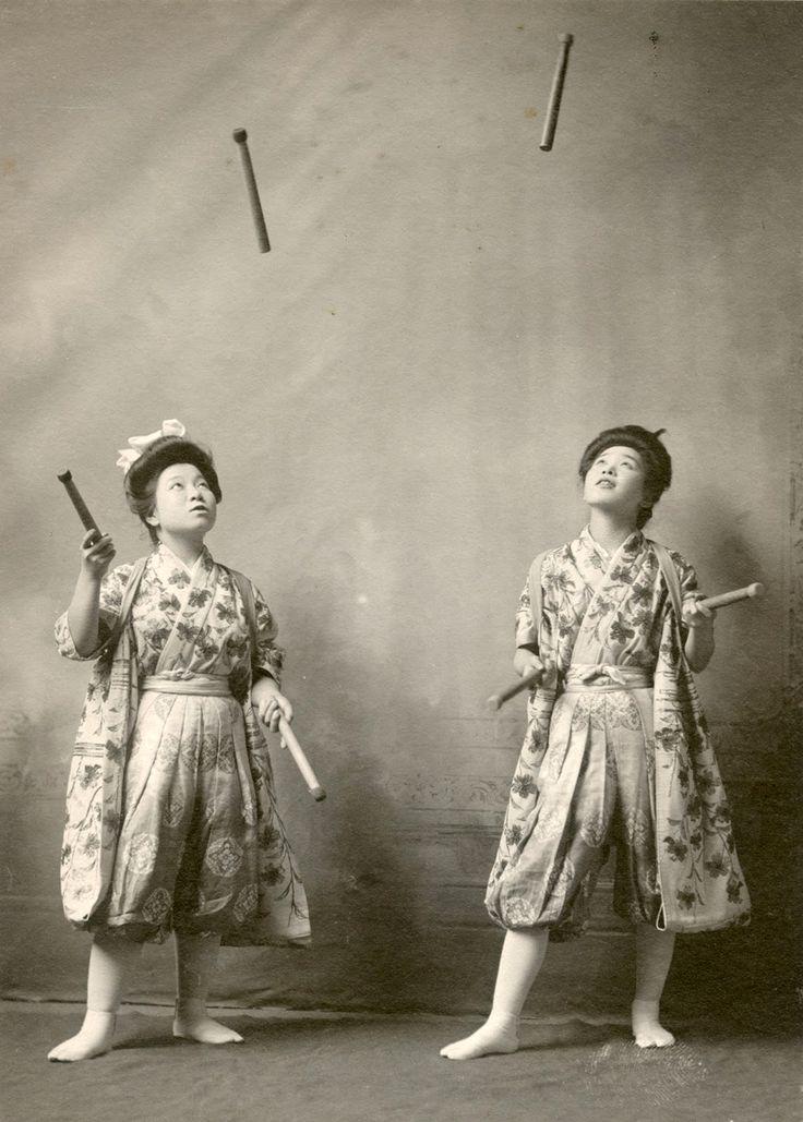 Yuka Tsusaka and Otomi Nakanosan perform in South Bend, Indiana, 1908