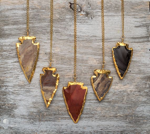 Agate Arrowhead Necklace Natural stone Necklace par TheSilverWhale