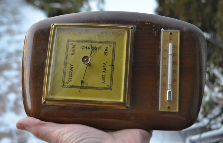 """WALL BAROMETER THERMOMETER  Wooden Wall Mounted Marked """"Germany""""  Climate, Stormy, Rain, Fair, Very Dry by StudioVintage on Etsy"""