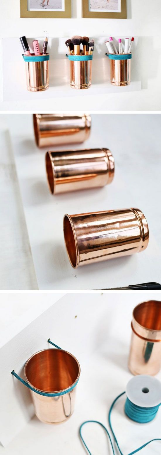 Leather + Copper Cup Organizer | Click Pic for 18 DIY Makeup Storage Ideas for Small Bedrooms | Easy Organization Ideas for the Home