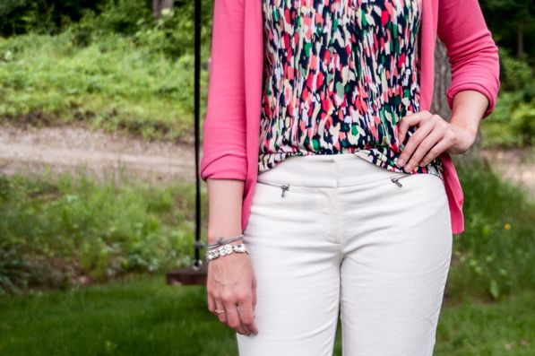 Printed Pink Shirt and White Capris