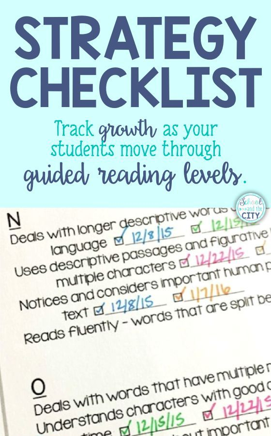 Reading strategy checklist: Track your students' growth as they move through guided reading levels.