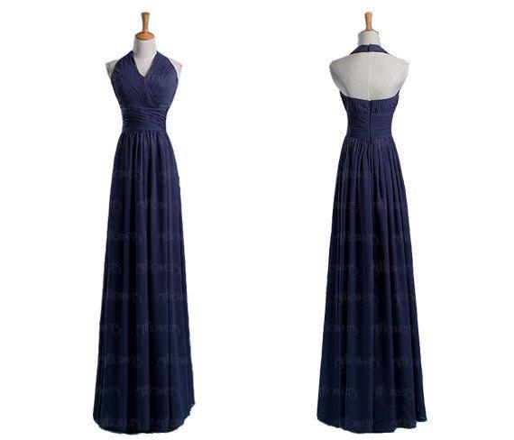 Halter bridesmaid dress chiffon bridesmaid dress grey by FlyFlower