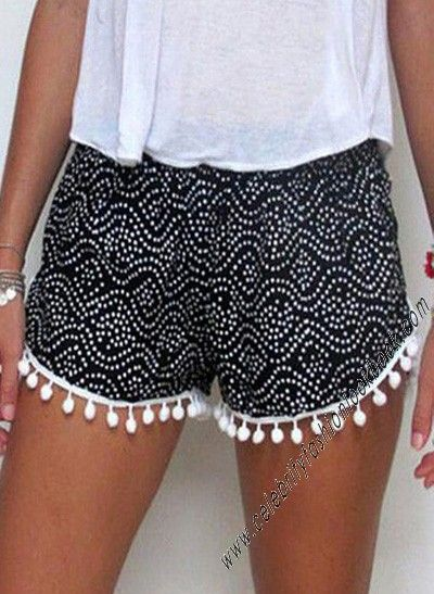 Tribal Print Pom Pom Shorts http://celebrityfashionlookbook.com/sh45-tribal-print-pom-pom-shorts.html #fashion #fashionista