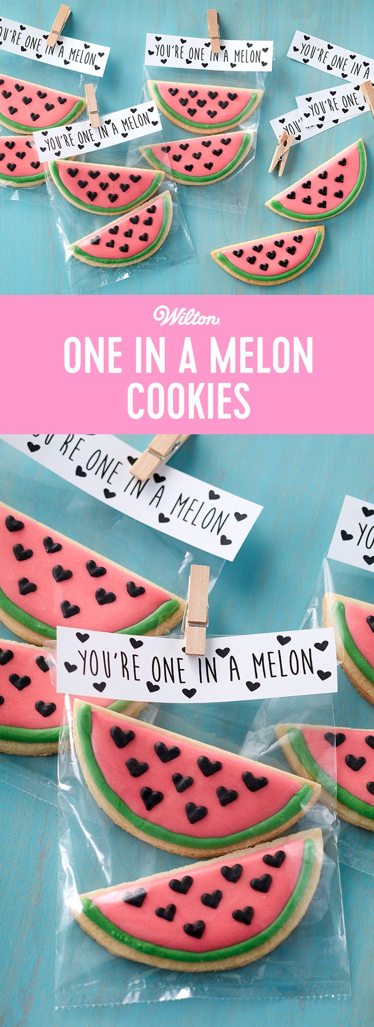 """Tell someone they're """"One in a Melon"""" with these cute watermelon cookies. Fun to give to friends and co-workers, these tasty cookies are a fun way to show someone how much you care. Use royal icing to decorate your cookies so they won't get damaged if you package them in a treat bag or box. #wiltoncakes #cookies #valentines #valentinesday #valentinesdaydessert #desserts #royalicing #watermelon"""