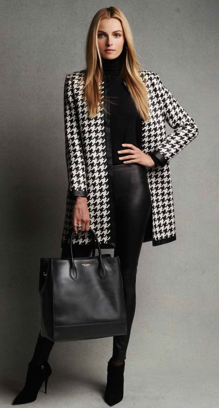 Ralph Lauren Black Label Adelle Woven Leather Houndstooth Coat