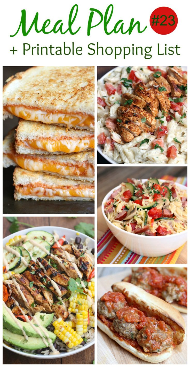 An EASY (family-friendly) meal plan that includes Creamy Orzo with Sausage and Vegetables, BBQ Ranch Grilled Chicken and Veggie Bowls, Meatball Subs, Chili Lime Chicken with Creamy Garlic Penne Pasta, Italian Grilled Cheese. Free printable shopping list is included!