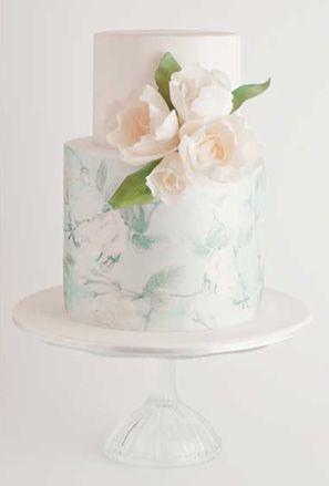 pastel watercolor fondant wedding cake