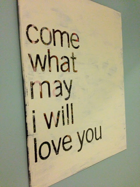 overjoyed: DIY: Thrift Art into Quote Art -- Cheap and easy painting project! I like how it turned out and it would've been even easier if I had gotten vinyl letters instead of trying to use regular stickers.