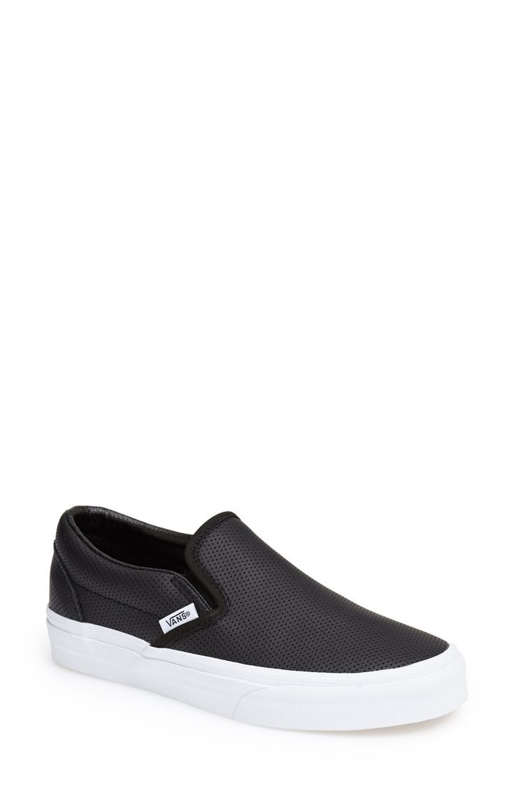 Vans 'Classic' Perforated Slip-On Sneaker (Women) Womens Leather Black