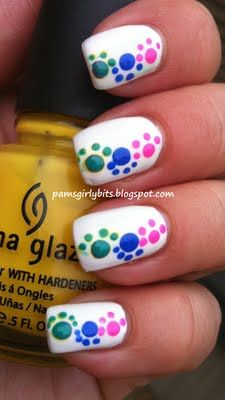 cute dots nails-looks like paw prints