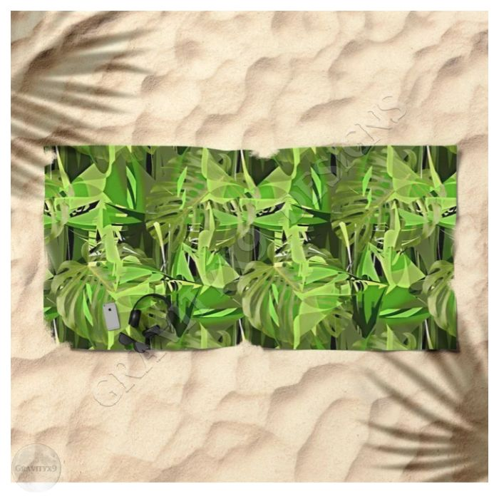 Tropical Greens Jungle Camo Beach Towel By Gravityx9 At Society6 This Design Is Available On Bathroom Summer Beach Towels Custom Beach Towels Beach Towe